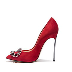 Women's Spring / Summer / Fall / Winter Heels Leather / Suede Wedding / Dress / Party & Evening Stiletto Heel Flower Red / Gray