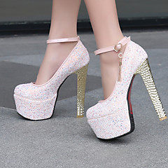 Women's Shoes Leatherette Chunky Heel Heels / Round Toe Heels Wedding / Dress / Casual Blue / Pink / White/F-24