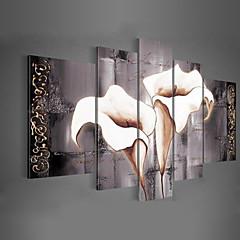 Kézzel festett Virágos / Botanikus Festmények,Klasszikus / Modern / Tradicionális Öt elem Vászon Hang festett olajfestmény For