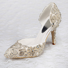 Women's Shoes Satin Spring / Summer / Fall / Winter Heels Wedding / Dress / Party & Evening Stiletto Heel Rhinestone White