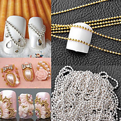 1M Manicure a Metal Chain of High-Quality Small Ball Yuanzhu Chain DIY Nail (Gold and Silver Decoration Optional)