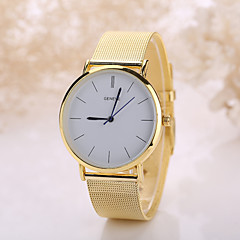 Women/Men White Case Steel Golden / Silver Band Watch Jewelry