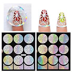 Bloem-Vinger / Teen-3D Nagel Acrylvormen-PVC-1pcs hollow nail sticker template- stuks9*10.5cm- (cm)
