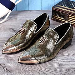 מוקסינים גברים של נעליים חתונה / מסיבה וערב עור שחור / זהב