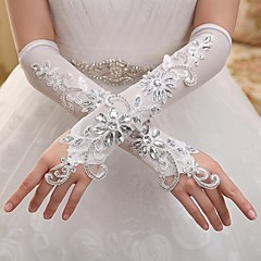 Elbow Length Fingerless Glove Elastic Satin Bridal Gloves / Party/ Evening Gloves Spring / Summer / Fall / Winter Sequins / Rhinestone