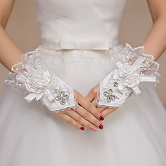Wrist Length Fingerless Glove Satin / Lace Bridal Gloves / Party/ Evening Gloves Floral / Embroidery / Rhinestone / lace