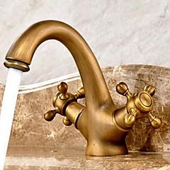 Antik Mittellage Zwei Griffe Zwei Löcher in Antikes Messing Waschbecken Wasserhahn