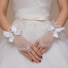 Wrist Length Fingerless Glove Lace / Tulle Bridal Gloves / Party/ Evening Gloves Ivory Embroidery / Bow / Rhinestone / lace