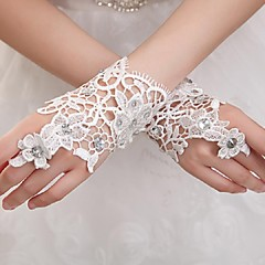 Wrist Length Fingerless Glove Elastic Satin Bridal Gloves / Party/ Evening Gloves Spring / Summer / Fall / Winter White Rhinestone / lace