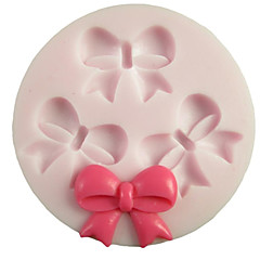 Tre huller Bowknot Round Silicone Mold Fondant Forme Sugar Craft Tools Resin blomster Mould forme til kager
