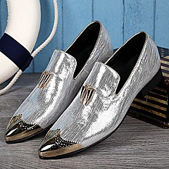 Men's Shoes Amir 2017 New Style Pure Manual Flora Lines Wedding / Night Club & Party Cowhide Leather Loafers Gold/Silver