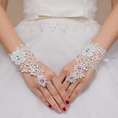 Wrist Length Fingerless Glove Lace Bridal Gloves / Party/ Evening Gloves Rhinestone / lace