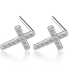 Hot Summer Style Super Flash Rhinestone Cross Stud Earrings Real 925 Silver Wonderful Women Fashion Jewelry