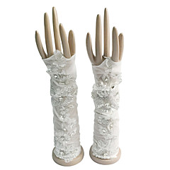 Elbow Length Fingerless Glove Cotton Bridal Gloves / Party/ Evening Gloves Spring / Summer / Fall / Winter Rhinestone