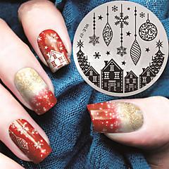 2016 nieuwste versie mode patroon huis en kerstcadeau nail art stempelen afbeelding template platen