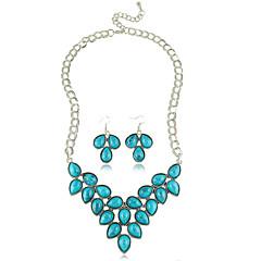 סט תכשיטים לנשים יום שנה / מתנה / מסיבה / יומי סטי תכשיטים סגסוגת ריינסטון שרשראות / עגילים שחור / אדום / כחול / ירוק