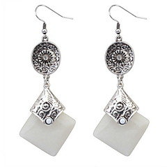 2016 Fashion Square Drop Earrings Silver Ear Hook for Vintage Women Party Jewelry