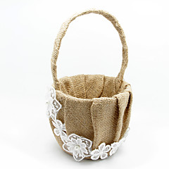 Flower Basket In Beige Linen With Lace Flower Girl Basket