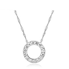 New Trendy 2016 Women Real 925 Sterling Silver Round Circle Rhinestone Pendant Long Chain Necklace Wedding Jewelry