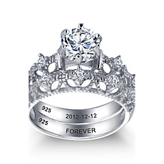 2016 Personalized Noble 925 Sterling Silver Couples CZ Stone Wedding Ring