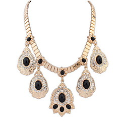 2 Colors Charm Luxury Western Style Rhinestone Pendant Necklace Women Vintage Choker Necklace Jewelry