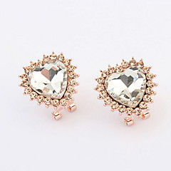 Fine Imitation Bright Diamond Rhinestone Lovely Cute Lady Mix Colors Peach Heart Stud Earrings Love Femininity