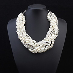 2016 New Fashion Collar Necklace Pendant Chunky Luxury Choker Simulated Pearl Statement Necklace