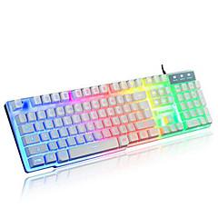 Rainbow mekaaninen kosketus langallinen usb vedenpitävä kannettavan työpöydälle pro valaistu tietokoneen näppäimistöt