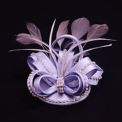 Women's Satin / Feather / Rhinestone Headpiece-Wedding / Special Occasion / Casual / Outdoor Fascinators 1 Piece