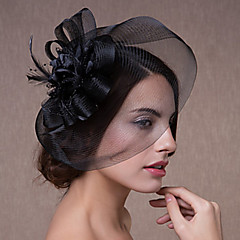 Women's Lace / Feather / Tulle Headpiece-Wedding / Special Occasion Fascinators Hair Jewelry 1 Piece