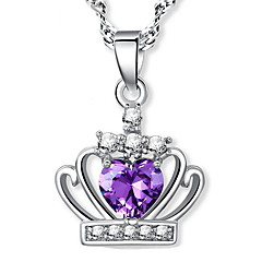 925 Real Silver Ladies Fashion Jewelry Princess Crown Crystal Pendants Long Chain Amethyst Heart Collar Necklace