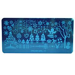 hot jul diy stempling plader negle skabeloner sne blomst billede stencils til negle polish indretning drømmepige-11