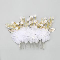 Dam / Blomflicka Legering / Imitation Pärla / Chiffong Headpiece-Bröllop / Speciellt Tillfälle Hårkam 1 st.