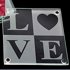 LOVE Glass Coasters Wedding Party Decoration (1pcs)