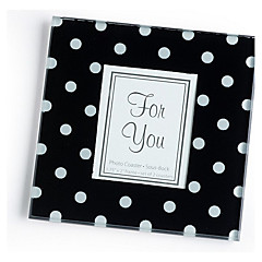 """Timeless Traditions"" Elegant Black & White Dot Glass Photo Frame Coasters (1pcs)"