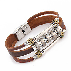 Punk Style Leather Bracelet Letter Pattern Men's Woven Metal Decoration Jewelry
