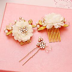 Femme Perle Alliage Tissu Casque-Mariage Occasion spéciale Peigne Epingle à Cheveux 3 Pièces