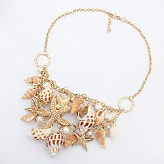 女性 ステートメントネックレス 貝殻 シェル 合金 ファッション ゴールデン ジュエリー パーティー 日常 カジュアル 1個