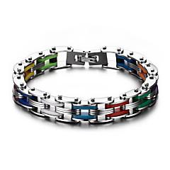 Herrn Ketten- & Glieder-Armbänder Modisch Mehrfarbig individualisiert Titanstahl Geometrische Form Silber Schmuck Für Alltag Normal1
