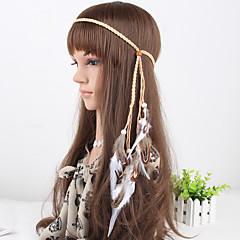 vrouwen eenvoudige veer houten kralen hoofdbanden 1 stuk khaki