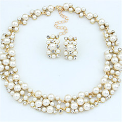 Women's Jewelry Set Drop Earrings Pearl Necklace Fashion European Bridal Elegant Pearl Rhinestone Alloy Circle Necklaces Earrings For
