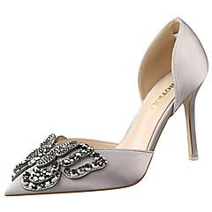 נעלי נשים-עקבים-משי-עקבים / נוחות / שפיץ-שחור / ירוק / ורוד / אדום / אפור / חרדל-שמלה / מסיבה וערב-עקב סטילטו