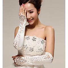 Wrist Length Half Finger Glove Polyester Bridal Gloves Spring / Summer / Fall / Winter Pearls / Rhinestone / lace