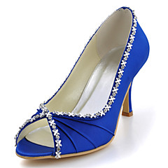 FemininoSaltos / Peep Toe-Salto Agulha-Preto / Azul / Amarelo / Rosa / Roxo / Vermelho / Branco / Prateado / Dourado / Bege / Amêndoa-Seda