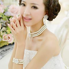 Bijoux Colliers décoratifs / Boucles d'oreille / Bracelet Nuptiales Parures Imitation de perle / A la Mode Mariage / Soirée 1set Femme