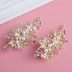 Golden Olive leaves with Pearl Crystal Barrette for Wedding Hair Jewelry(1 pcs/set)