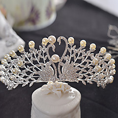 Bride's Swan Rhinestone Imitation Pearl Wedding Hair Accessories Crown Tiaras Headpiece 1 Pieces