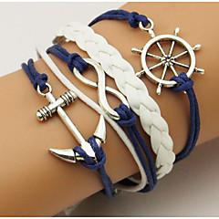 Retro Style Multilayer Blue/White Anchor Arrow Weave Wrap Bracelet