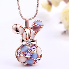 Rabbit Head Pendant Sweater Chain Long Necklace Crystals And Gemstones Women Party Jewelry With Gift Box