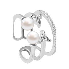 טבעות אופנתי חתונה / Party / יומי / קזו'אל תכשיטים סגסוגת נשים טבעות רצועה 1pc,מתכוונן כסף
